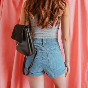 Cotton On High-Waisted Pinstripe Denim Shorts